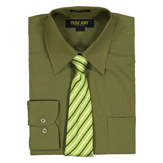Men's Olive Regular-Fit Solid Long-sleeved Dress Shirt with Mystery Tie Set
