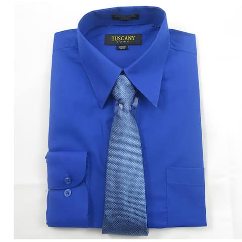 Tuscany Men's Royal Blue Regular-fit Long-sleeve Dress Shirt with Mystery Tie Set