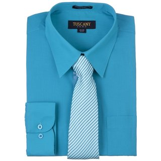 Tuscany Men's Solid Turquoise Regular-fit Long-sleeve Dress Shirt with Mystery Tie Set