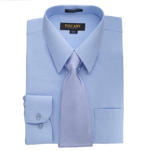 Men's Light Blue Regular-fit Solid Long-sleeved Dress Shirt with Mystery Tie Set