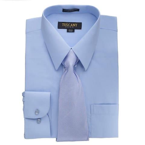 Men's Light Blue Regular-fit Solid Long-sleeved Dress Shirt with Mystery Tie Set
