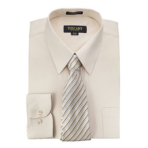 Men's Regular-fit Solid Long-sleeved Dress Shirt With Mystery Tie Set