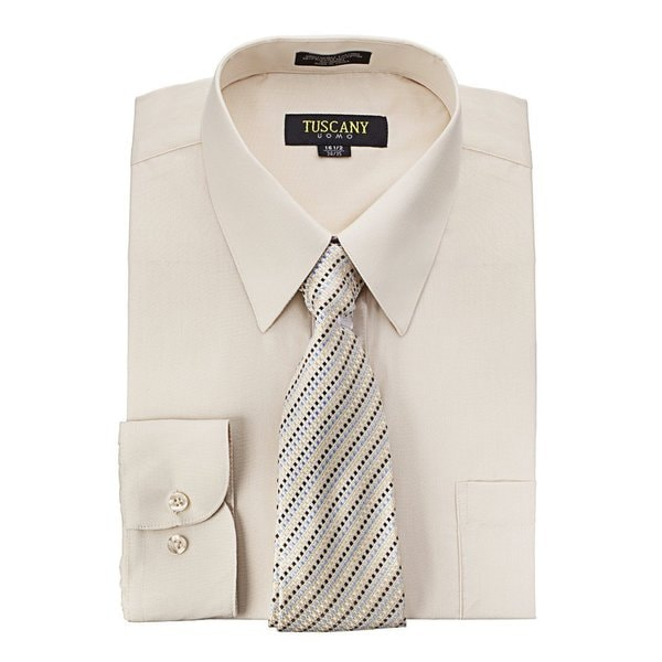 Mens Regular-fit Solid Long-sleeved Dress Shirt With Mystery Tie Set by  Savings