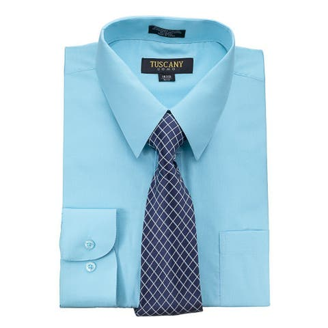 Tuscany Men's Blue Regular-fit Dress Shirt and Tie Set