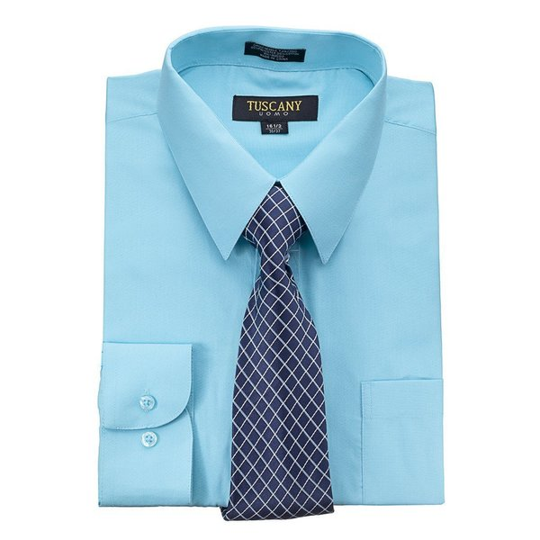 Tuscany Mens Blue Regular-fit Dress Shirt and Tie Set