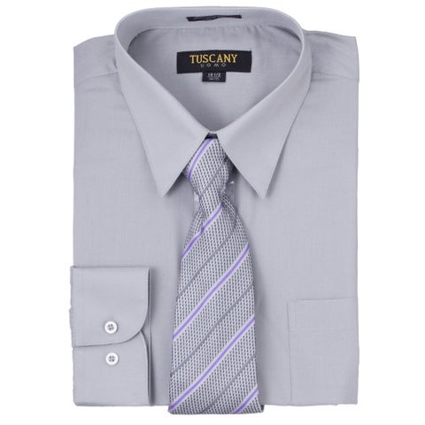 Tuscany Men's Solid Grey Regular-fit Long-sleeve Dress Shirt with Mystery Tie Set