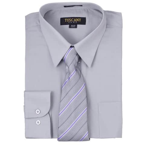 d9bae8a90 Tuscany Men's Solid Grey Regular-fit Long-sleeve Dress Shirt with Mystery  Tie Set