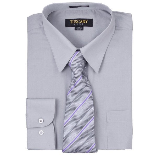 Tuscany Mens Solid Grey Regular-fit Long-sleeve Dress Shirt with Mystery Tie Set