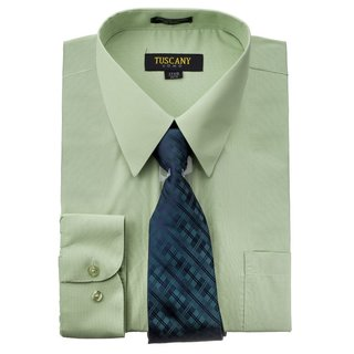 Tuscany Men's Mint Regular-fit Long-sleeve Dress Shirt with Mystery Tie Set