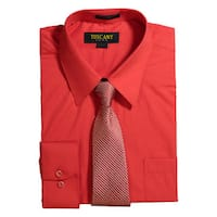 Men's Red Regular-fit Solid Long-sleeved Dress Shirt With Mystery Tie Set