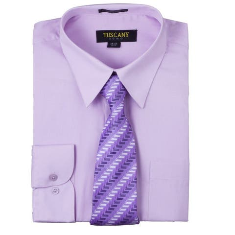 Tuscany Men's Lilac Regular-fit Long-sleeve Dress Shirt with Mystery Tie Set