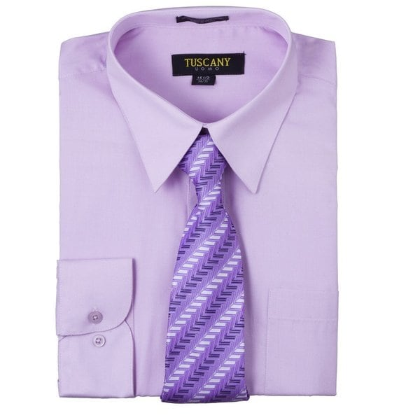 Tuscany Mens Lilac Regular-fit Long-sleeve Dress Shirt with Mystery Tie Set