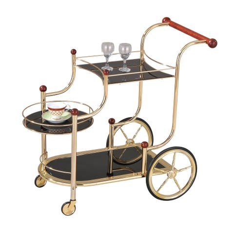 Acme Furniture Lacy Serving Cart, Golden Plated and Black Glass