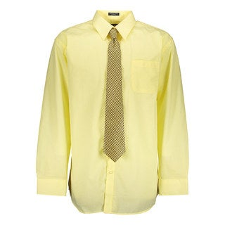Tuscany Men's Lemon Regular-fit Solid Long-sleeve Dress Shirt With Mystery Tie Set