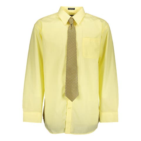 Tuscany Men's Lemon Regular-fit Solid Long-sleeve Dress Shirt with Mystery Tie Set