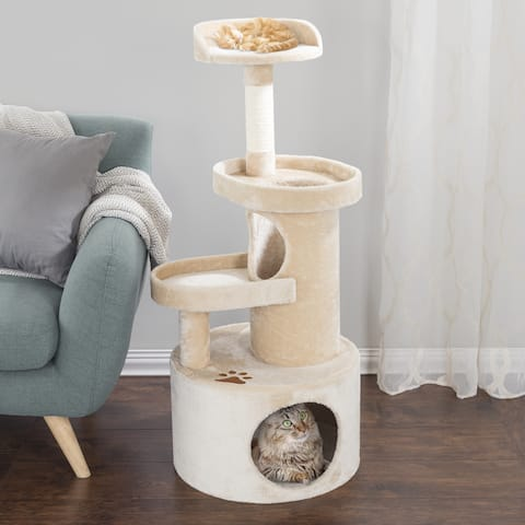 """PETMAKER 4-Tier 43"""" Cat Tree Condo with Tunnel"""