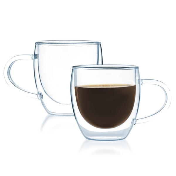 JavaFly Double-walled Thermo Glass 4-ounce Coffe Cup/Bistro Mug (Set of 2). Opens flyout.