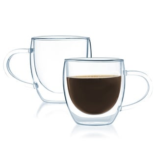 JavaFly Double-walled Thermo Glass 4-ounce Coffe Cup/Bistro Mug (Set of 2)