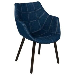 LeisureMod Milburn Mid-Century Tufted Denim Lounge Armchair w/ Wooden Legs