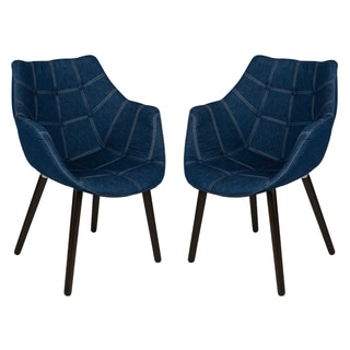 LeisureMod Milburn Tufted Denim Lounge Chair, Set of 2
