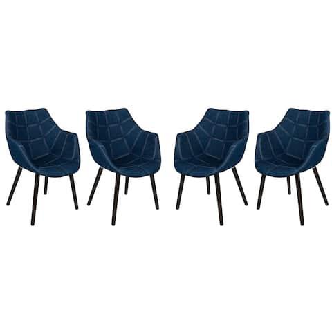 LeisureMod Milburn Mid-Century Tufted Denim Lounge Armchair w/ Wooden Legs, Set of 4
