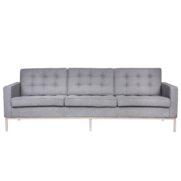 LeisureMod Mid Century Florence Tufted Buttoned Light Grey Wool Sofa