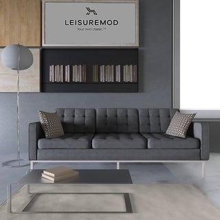 LeisureMod Modern Florence Style Light Grey Sofa