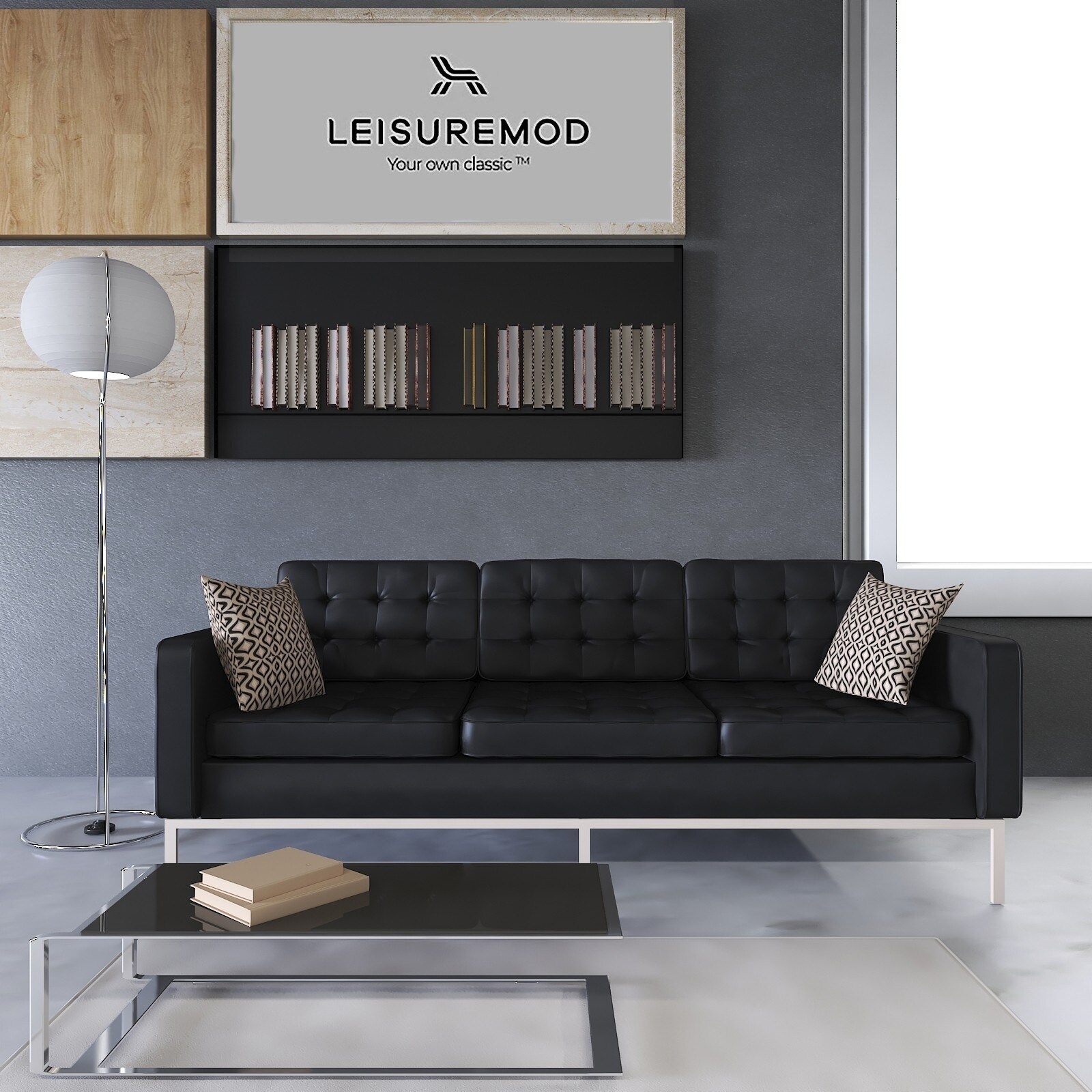 Leisuremod Mid Century Florence Tufted Buttoned Black Leather Sofa