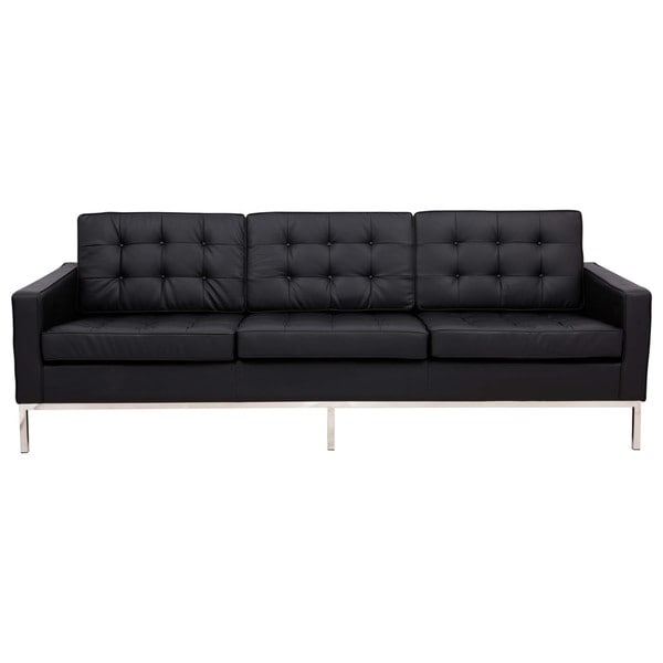 Shop Leisuremod Mid Century Florence Tufted Buttoned Black Leather