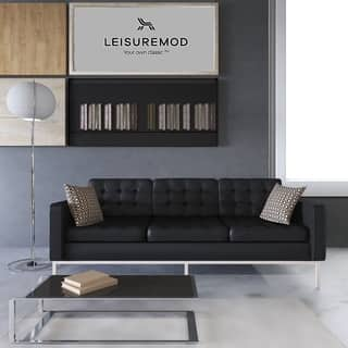 Leisuremod Mid Century Florence Tufted Oned Black Leather Sofa
