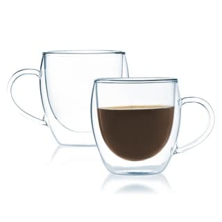 Javafly Double Walled 8-ounce Thermo Glass Cup Bistro Mug with Handle (Set of 2)