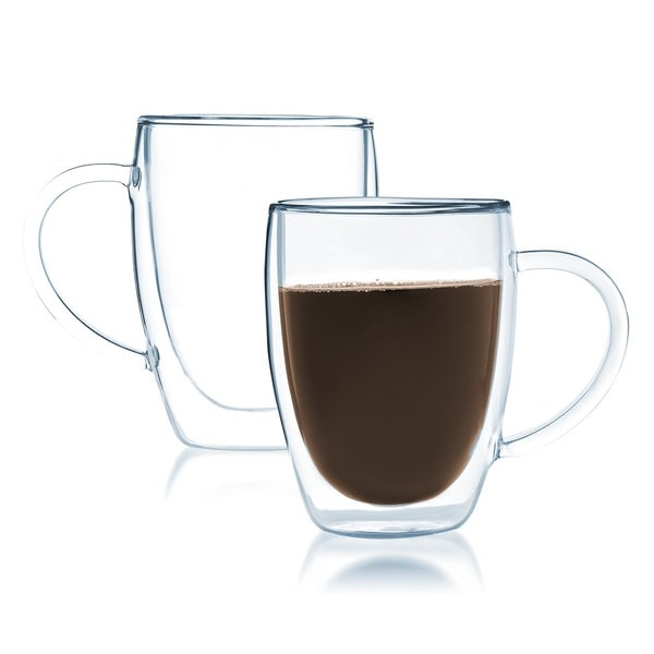 JavaFly Clear Glass 12-ounce Double-walled Thermo Bistro Mug with Handle (Set of 2). Opens flyout.