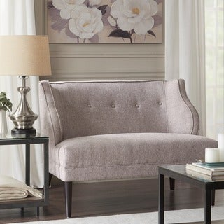Madison Park Armelle Grey Multi Tufted Round Arm Settee