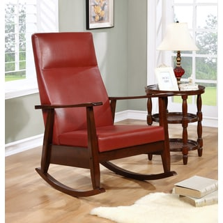 Woodham Solid Wood Red Faux Leather Rocker