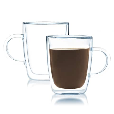 Javafly Double-walled Clear Glass 12-ounce Coffee Cup (Set of 2)