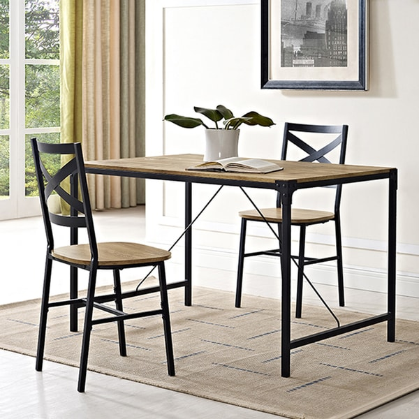 Rustic Angle Iron 48 Inch Barnwood Dining Table