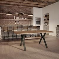 Carbon Loft Kettering Metal Table with 38 x 72 Distressed Solid Birch Top