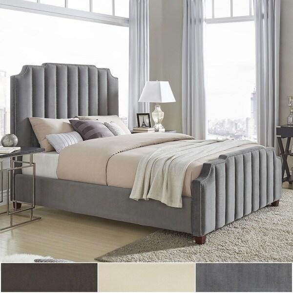 Chareau King Size Velvet Upholstered Nailhead Bed And