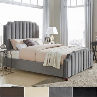 Chareau King Size Velvet Upholstered Nailhead Bed and Headboard by iNSPIRE Q Bold