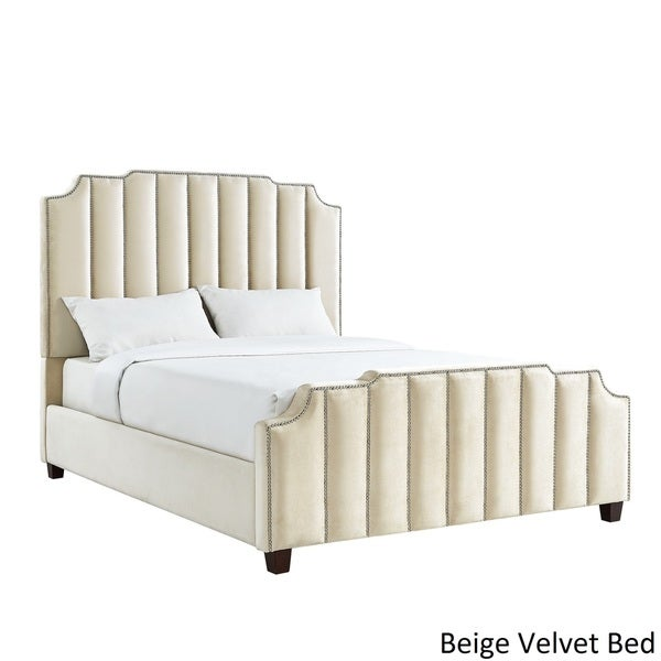 Chareau Velvet Upholstered Nailhead Headboard by iNSPIRE Q Bold - Free  Shipping Today - Overstock.com - 20994613 - Chareau Velvet Upholstered Nailhead Headboard By INSPIRE Q Bold