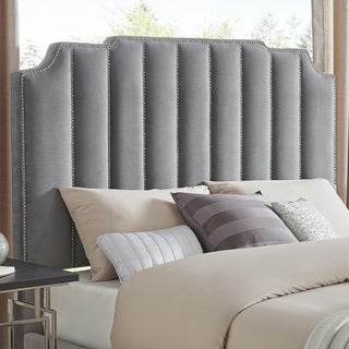 Chareau Queen Size Velvet Upholstered Nailhead Bed and Headboard by iNSPIRE Q Bold