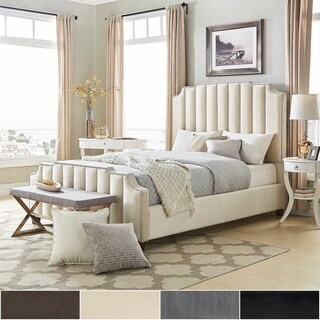 Chareau Full Size Velvet Upholstered Nailhead Bed and Headboard by iNSPIRE Q Bold