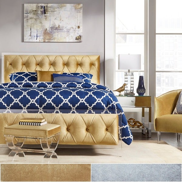 Anya King-size Velvet Button Tufted Acrylic Headboard and Bed by iNSPIRE Q Bold