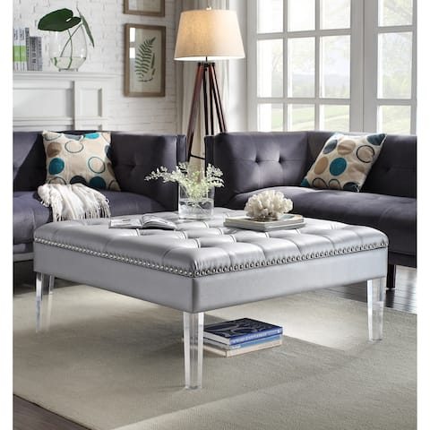 Chic Home Poe PU Leather Clear Acrylic Legs Ottoman, Silver