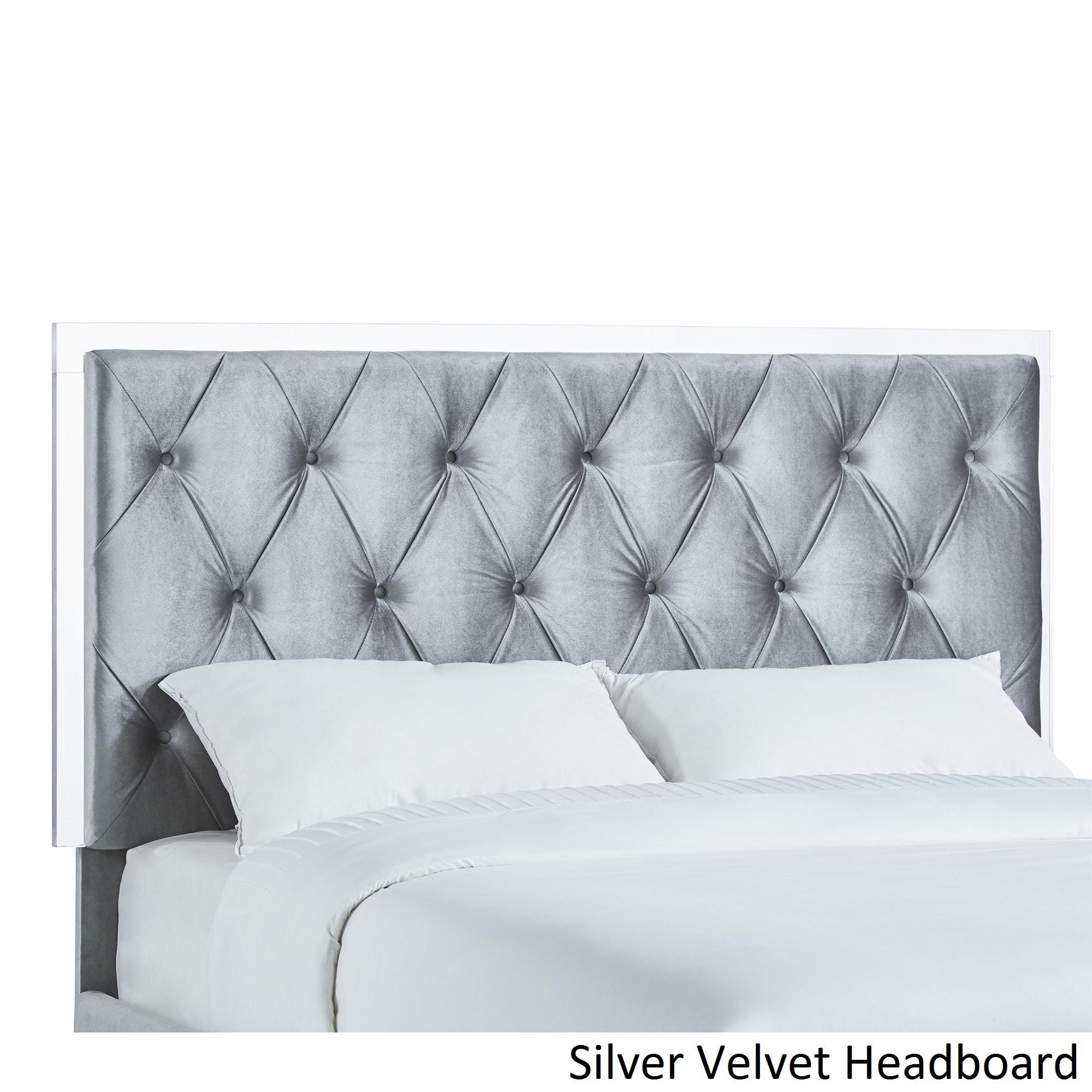 Anya Queen-size Velvet Button Tufted Acrylic Headboard an...
