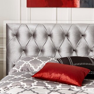 Anya Queen-size Silver Velvet Button Tufted Acrylic Headboard by iNSPIRE Q Bold
