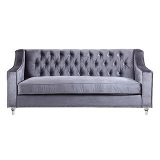 Chic Home Berry Velvet Round Acrylic Feet Sofa, Grey