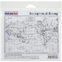 "Darkroom Door Background Cling Stamp 4""X6""-World Map"