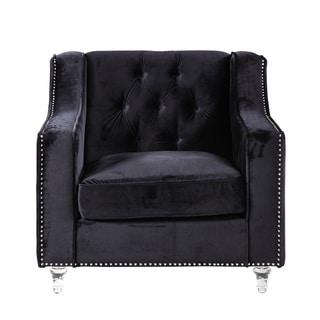 Chic Home Berry Velvet Round Acrylic Feet Club Chair, Black