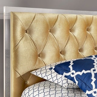 Anya Full-size Velvet Button Tufted Acrylic Headboard and Bed by INSPIRE Q